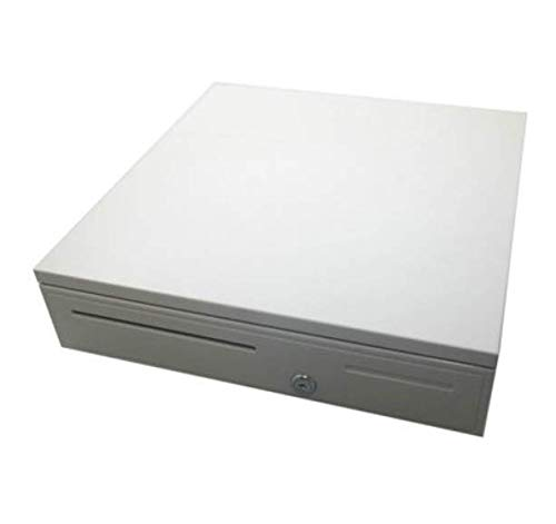 Cash Drawer Safe Box 5 Bill 5 Coin Tray for POS Printer Store Money Lock Storage (White)