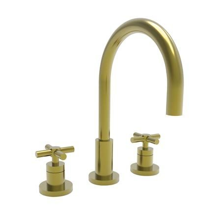 Newport Brass 990/04 East Linear Double Handle Widespread Lavatory Faucet with Metal Cross Handles (L, Satin Brass