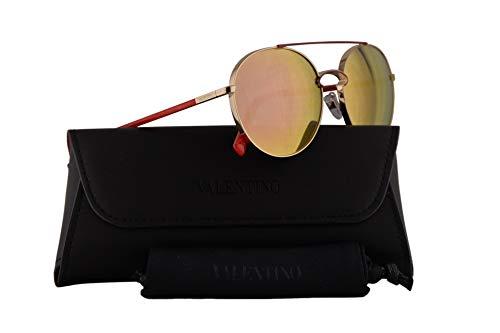 Valentino VA 2002 Sunglasses Light Gold Red w/Rose Gold Mirror Lens 55mm 30034Z VA2002S VA2002/S VA2002