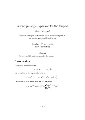 A multiple angle expansion for the tangent