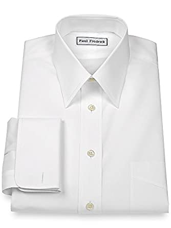 Paul fredrick men 39 s slim fit non iron cotton straight Straight collar dress shirt