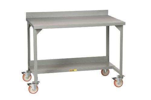 Little Giant WM-2872-R Welded Steel Mobile Workbench with Back Stop, 1 Riser Shelf 1 Half-Shelf, 36