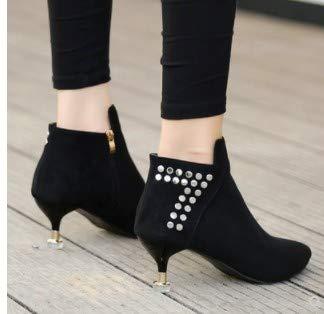 Mince Black Chaussures Cm Talon Rivets Martin Lbtsq Des 100 Nus Femme De Ensembles 5 Bien Bottes Haut pointe Petits Talons 4PnWFwWx