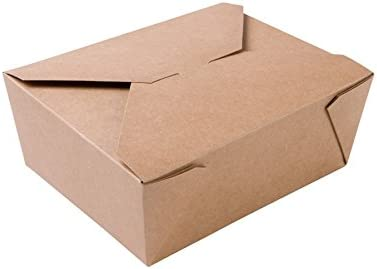 BIOZOYG Caja Alimentos Take Away I Bio Caja Alimentos con Tapa Plegable 1150 ml I Caja Rectangular cartón I Caja de cartón Kraft compostables marrón I 300 Piezas Caja desechable To Go: