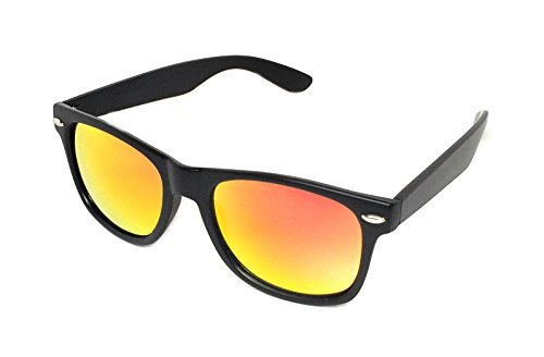 WebDeals - Color Mirror Reflective Lens and Dark Horn Rimmed Large Square Sunglasses (Black Matte / Red - Different Color Sunglasses Lenses