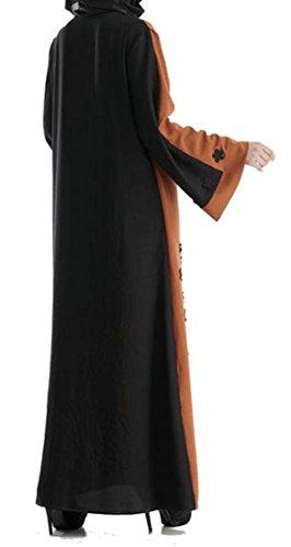 Tagliare Vestito Donne Abito Lunga Aprire Marrone Voga Manica Cromoncent Fiore Saudita Musulmano OxqYRa7x