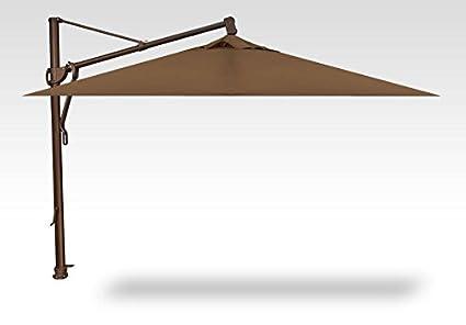 Treasure Garden 10u0027 Square AKZ Cantilever Umbrella   Bronze Pole   5425  Cocoa Sunbrella Fabric