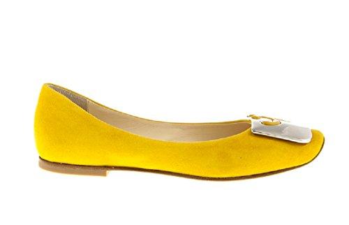 FABI 6032 Yellow Suede Flats Italian Designer Women Shoes