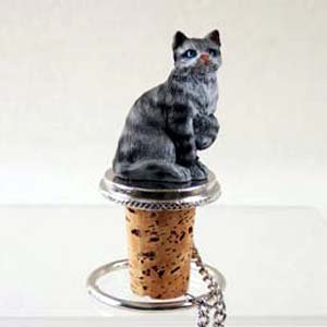 Shorthair Silver Tabby Cat Wine Bottle Stopper - CTB01 by Conversation Concepts