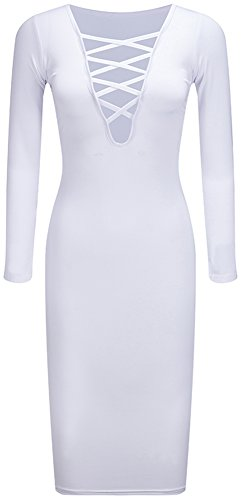 Sexy Col V Femmes Bewish À Long Automne Chaud Manches Robe Bandage Partie Stretch Blanc