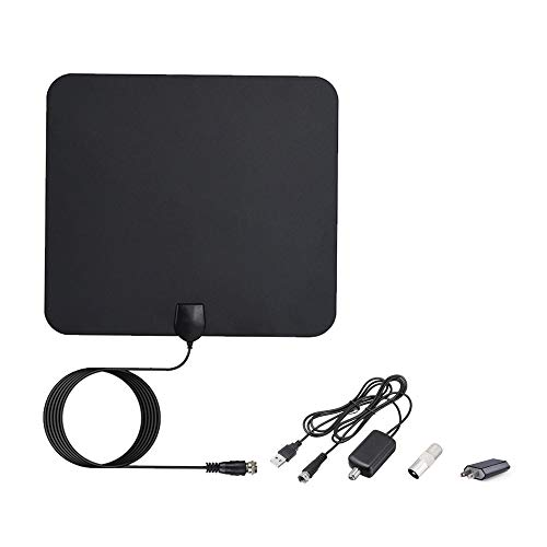 TV Antenna, Indoor Digital Amplified HDTV Antennas 50-80 Miles Range with Detachable Signal Amplifier, UL Adapter and 16.5FT Longer Coax Cable - Support 4K 1080p