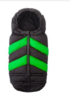 7AM Enfant Blanket 212 Chevron Extendable Baby Bunting Bag Adaptable for Strollers, Black/Neon Green by 7AM Enfant