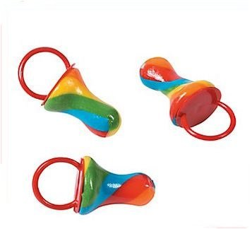 Rainbow Twist Pacifier Ring Suckers - Fruit Suckers - Rainbow Candy Sucker Rings (Rings Sucker)