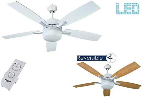 Bastilipo 7890-Adra Blanco Adra Ventilador de Techo LED con Mando a Distancia y Palas Reversibles: Amazon.es: Iluminación