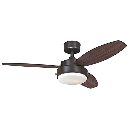 Alloy Two-Light 42 Reversible Three-Blade Indoor Ceiling Fan, Oil Rubbed Bronze with Opal Frosted Glass 42 Oil Rubbed Bronze