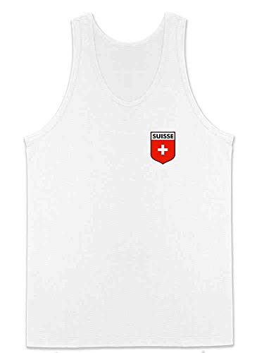 Switzerland Soccer Retro National Team Costume White XL Sleeveless Shirt Tank Top Mens