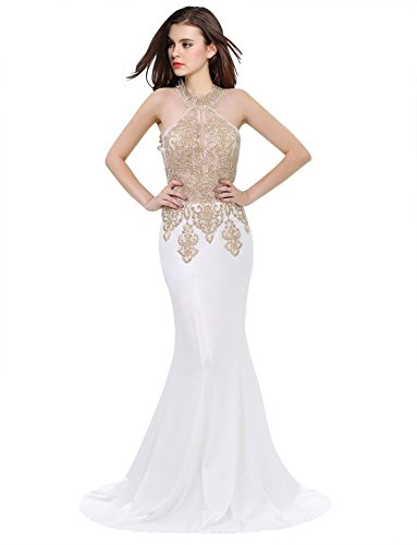 Erosebridal Womens Prom Dresses Long Lace High Neck Evening Gown Sexy Mermaid US2 Beige