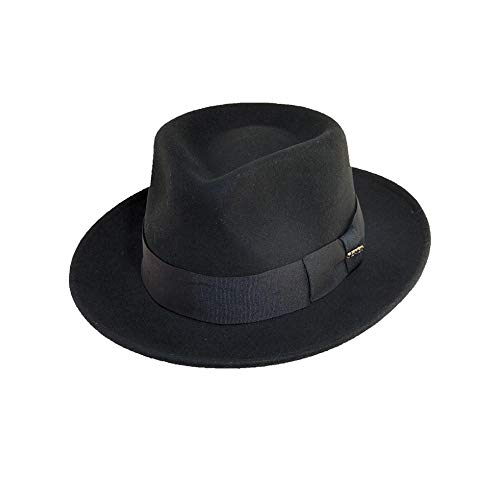 Scala Classico Men's Crushable Water Repelant Wool Felt Fedora Hat, Black, Medium ()