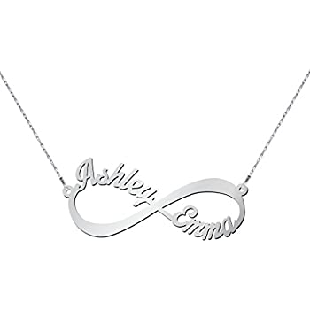 70f02feb0421 Amazon.com  14K White Gold Infinite Love Name Necklace with a 16 ...