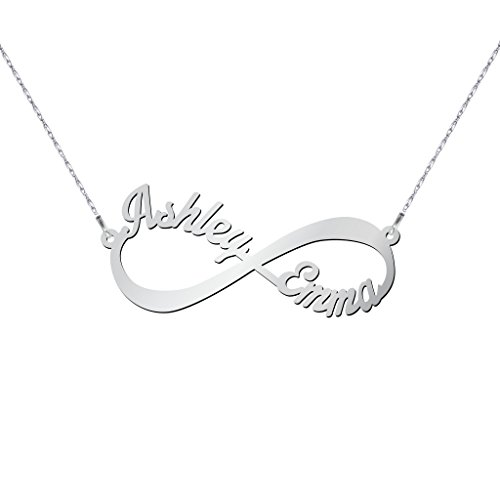 14K White Gold Infinite Love Name Necklace with a 18