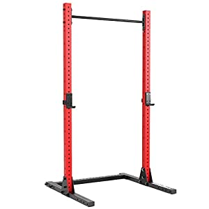 Synergee 1000lb Capacity Squat Rack 3×3 Tubes. Power Rack with Adjustable Pull Up Bar & J-Cups. Commercial Grade Squat Stand for Strength Training & Weightlifting.