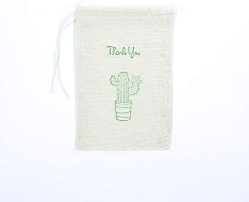 Bachelorette Party Bag Birthday Gift Bag Wedding Welcome Baby Shower Succulent Muslin Bag Soap Jewelry Goodie Candy Cactus Favor Bags