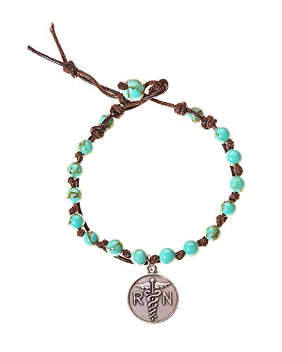 BellaRyann Nurse RN Stainless Steel & Turquoise Howlite Stone Leather Wrap Bracelet