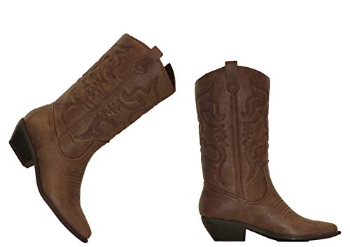 MVE Shoes Women's Modern Western Cowboy Distressed Boot with Pull-Up Tabs (7.5, Dark Tan) (Cheap Cowboy Boots For Women Under $50)