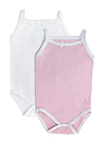 Feathers Baby Girls Pink/White 100% Cotton Super Soft Camisole Onesies 2-Pack