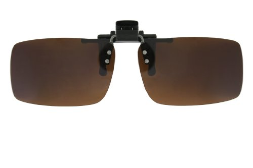 Clip on Flip up Sunglasses with UV400 Polycarbonate Polarized Lenses 60mm/56mm in Grey/Yellow/Brown/Green (Brown, 60mm)