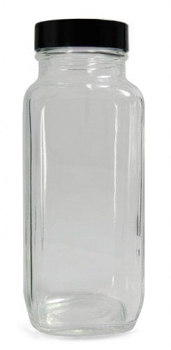 Qorpak GLC-01397 Clear Glass French Square Bottle with 58-400 Black Phenolic Pulp/Vinyl Lined Cap, 83mm OD x 202mm Height, 32oz Capacity (Case of 12)