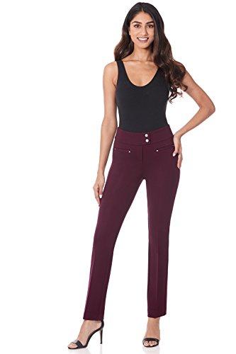 Rekucci Women's Secret Figure Pull-On Knit Straight Pant w/Tummy Control (18,Burgundy)