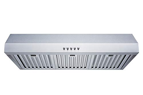 30 in. Convertible 480 CFM Under Cabinet Range Hood in Stainless Steel with Baffle Filters and Push Buttons