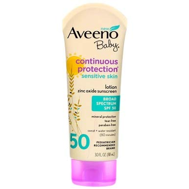 AVEENO Baby Continuous Protection Sensitive Skin Lotion Zinc Oxide Sunscreen SPF 50 3 oz ( Pack of 6)