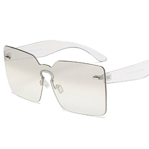 YABINA Spring Summer Oversized Women Square Sunglasses Fashion Men Rimless Tint Lens Glasses (3) - Rimless Fashion Sunglasses