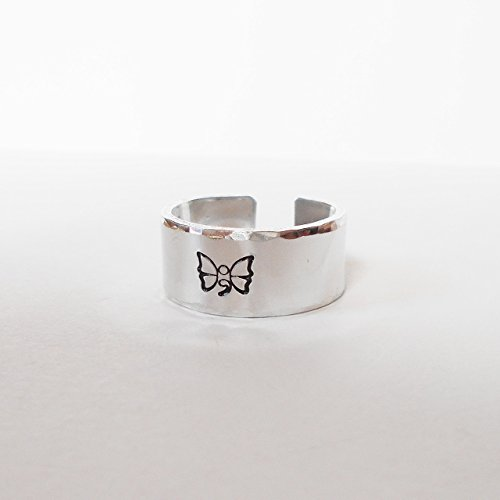 [Butterfly Semi Colon Hidden Message Hand Stamped Aluminum Adjustable Cuff Ring] (Emo Rocker Costume)