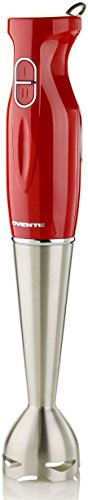 Ovente HS580R Multi-Purpose Immersion Blender, 300-Watt Hand Mixer, 2 Speeds, Brushed Stainless Steel Blades and Detachable Shaft, Red