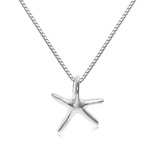 "Sterling Silver Solid 3-D Small Size Starfish Charm And Necklace. (20"" Inches)"