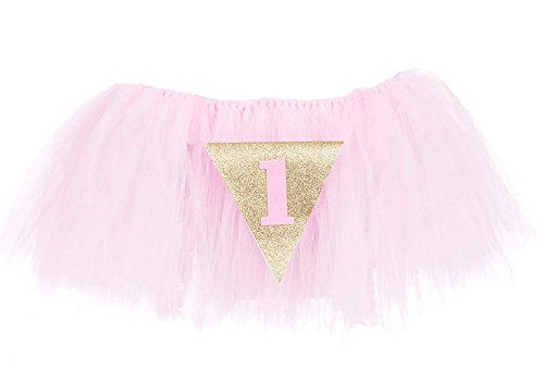 PoshPeanut 1st Birthday Tutu Skirt for High Chair Party Decorations for Your Special Day (Pink) (Chair Pink Princess)