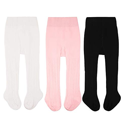 CozyWay Baby Tights Toddle Pantyhose Leggings Knit Cotton Pants Stockings (2-4Y, 3 Pack Twist White Black Pink)