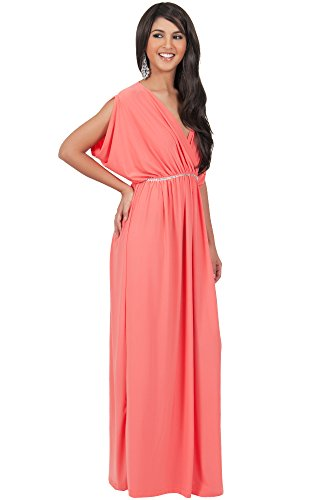 Koh koh womens long dolman sleeve wrap v neck cocktail for Dolman sleeve wedding dress