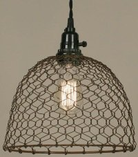 Chicken Wire Dome Pendant Light in Primitive Rust