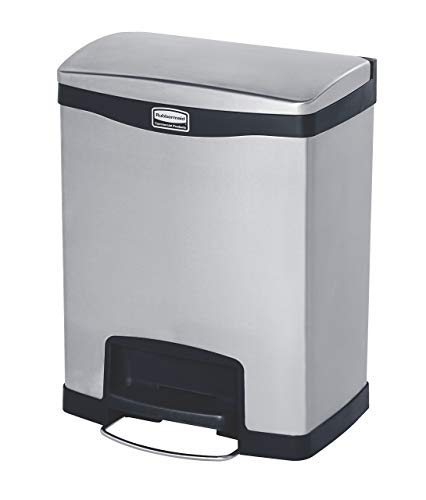 Rubbermaid Commercial Products 1901987 Rubbermaid Commercial Slim Jim Stainless Steel Front Step-On Wastebasket with Trash/Recycling Combo Liner, 8 gal, Black Trim (Renewed)