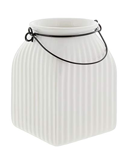 Napco Classic White Ribbed Ceramic Jar (5