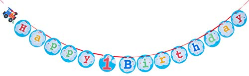 Creative Converting 324351 All Aboard Shaped with 1st Birthday Att Ribbon Banner, 6