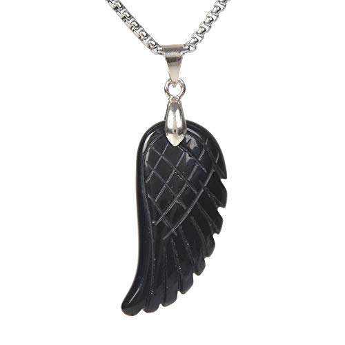JUST IN STONES Natural Black Obsidian Gemstone Crystal Healing Reiki Chakra Charm Angel Wing Pendant Necklace 20