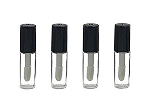 10Pcs 1.2ML Mini Reusable Empty Clear Plastic Lip Gloss Balm Tube Bottle DIY Lipstick Container Vials (Black) (Decorative Mini Containers compare prices)
