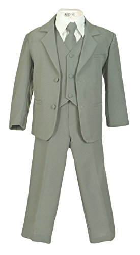Toddler Gray Suit (Avery Hill Boys Formal 5 Piece Suit with Shirt and Vest SilverWhite L)