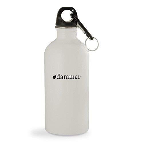 OneMtoss #Dammar - 13.5oz Hashtag White Sturdy Stainless Steel Water Bottle with Carabiner ()