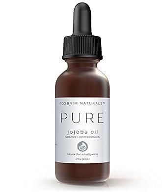 100% Pure Jojoba Oil, USDA Certified Organic by Foxbrim, For Face, Skin, Hair & Nails, Sensitive & Dry Skin, Abundant in Key Nutrients, Fatty Acids & Vitamins C & E,Unrefined & Cold Pressed, 4OZ